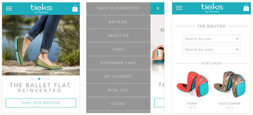 Tieks search options