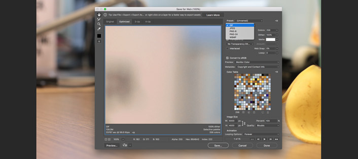 Photoshop GIF export