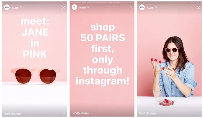 j crew jane pink instagram story - social media trends